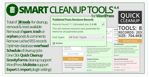 Smart Cleanup Tools - WordPress Cache Plugin