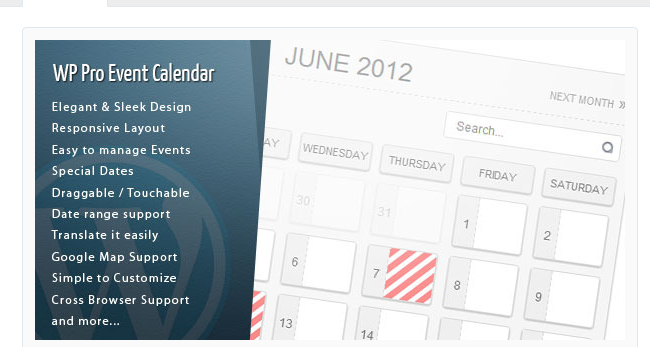WordPress Pro Event Calender - WordPress Calendar Plugin