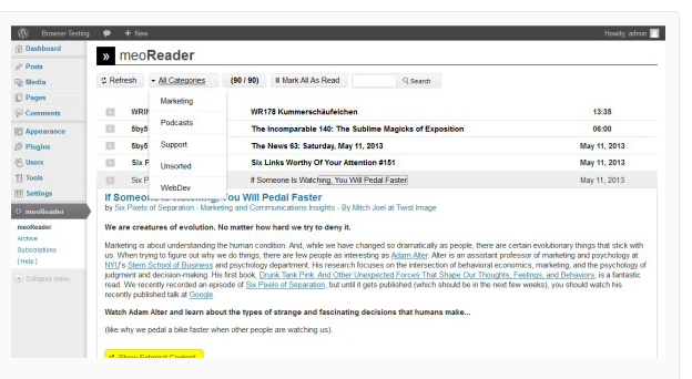 meoReader - WordPress RSS Feed Plugin