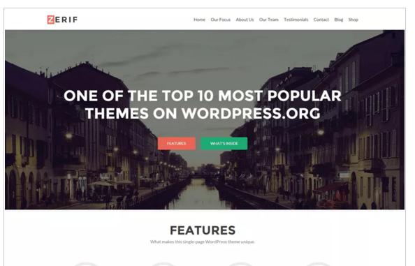 Zerif - Best Free eCommerce WordPress Themes